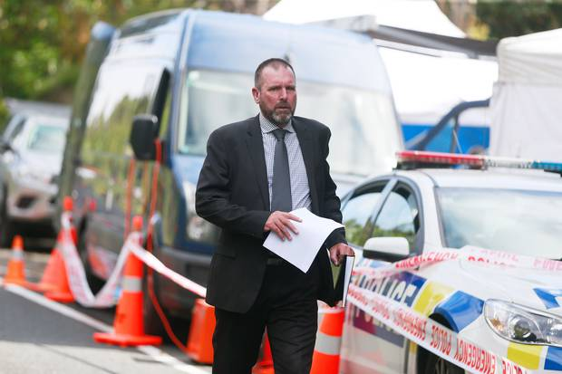 Detective Inspector Scott Beard as he walked to break the news to media that Grace Millane's body had been found. New Zealand Herald Photograph by Doug Sherring