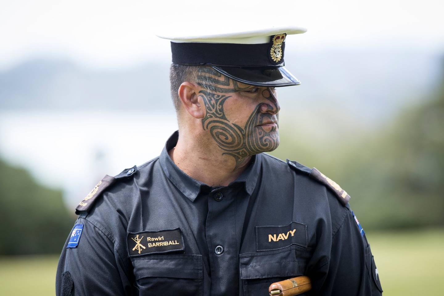 Navy officer Rawiri Barriball was the  first to get clearance from Navy to have a moko.