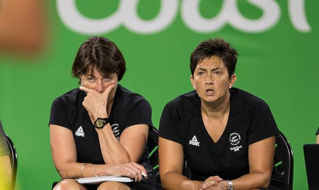 New Zealand's Netball coach Janine Southby holds her head up after a major loss in the semifinal Netball game against Australia at the 2018 Gold Coast Commonwealth Games. Photo / File.