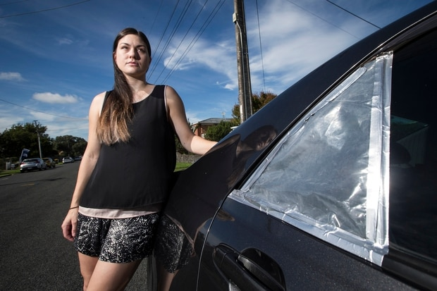 Nellie Ison's car was broken into in central Auckland. New Zealand Herald photo by Jason Oxenham