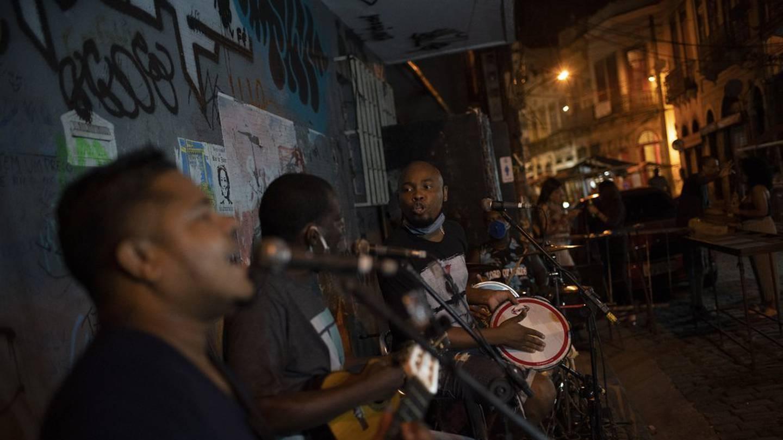 Brazilian band Atitude Nossa plays samba on the streets of Rio de Janeiro, Brazil. Photo / AP