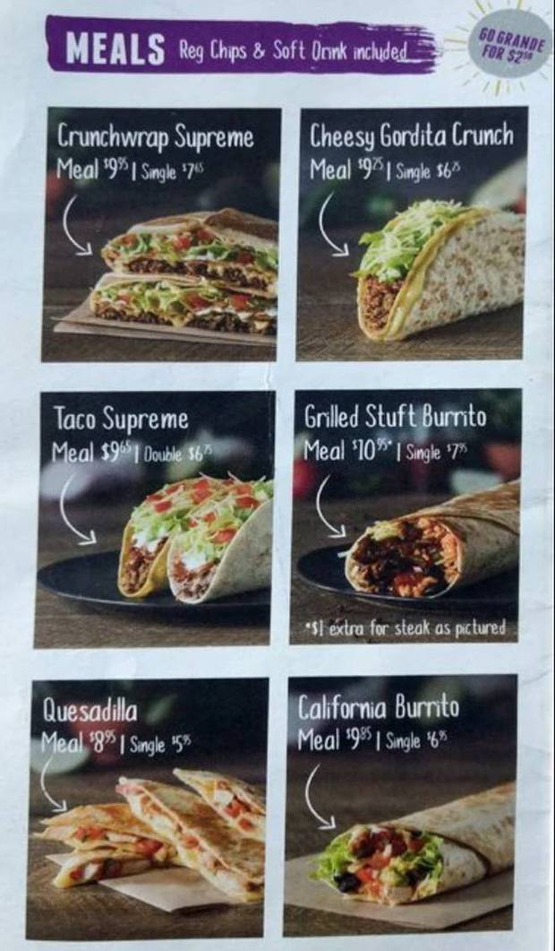 Taco Bell menu in Australia. Image / File
