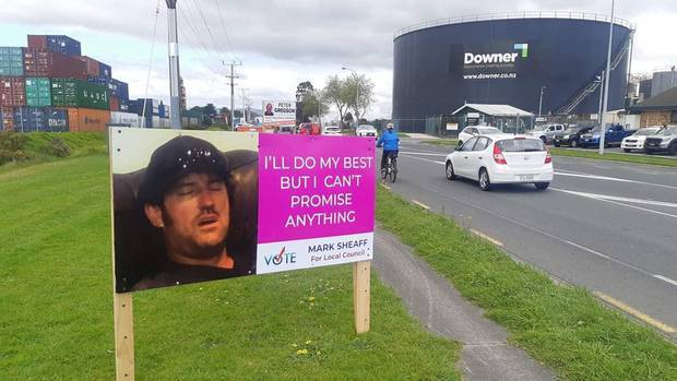 Who says helping run the city has to be hard work? Mark Sheaff's mock billboard in Tauranga. Photo / Supplied