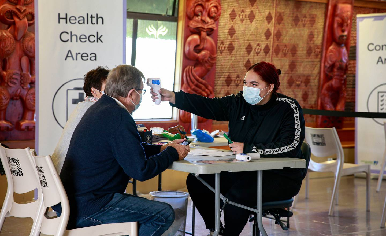 Behind the scenes at the vaccine centre at Manurewa Marae. Photo / Alex Burton