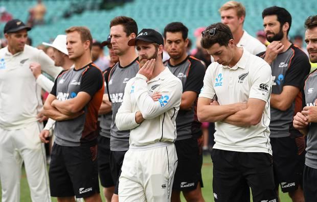 Kane Williamson and teammates look on. Photo / Photosport