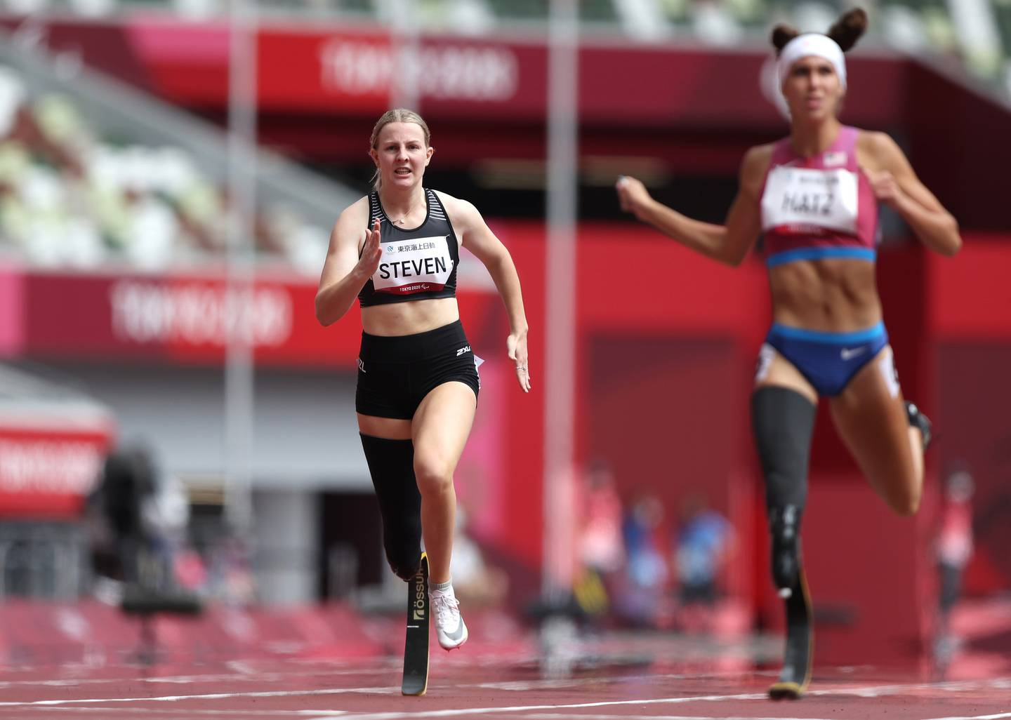 Anna Steven in action during the women's 200m T64. Photo / Getty