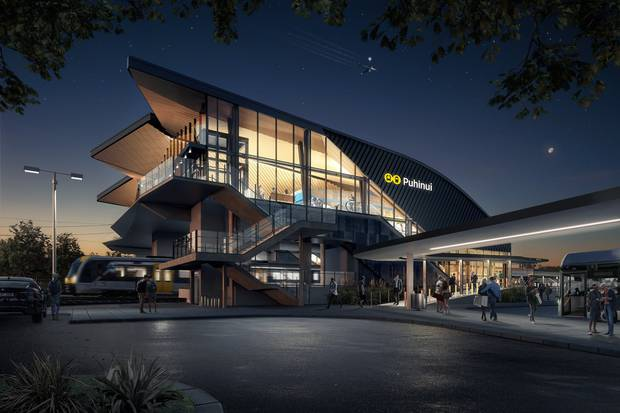 An artist's impression of the planned new Puhinui Rail Station, by night. Image / Supplied
