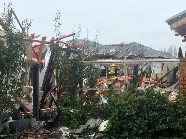Neighbours were amazed that none of the six people inside the house at the time of the explosion were killed. Photo / NZ Herald