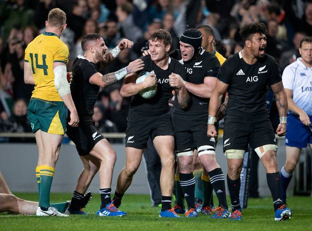 All Blacks winger George Bridge celebrates scoring a try against Australia during their Bledisloe Cup rugby test match at Eden Park in Auckland, New Zealand. Photo / AP