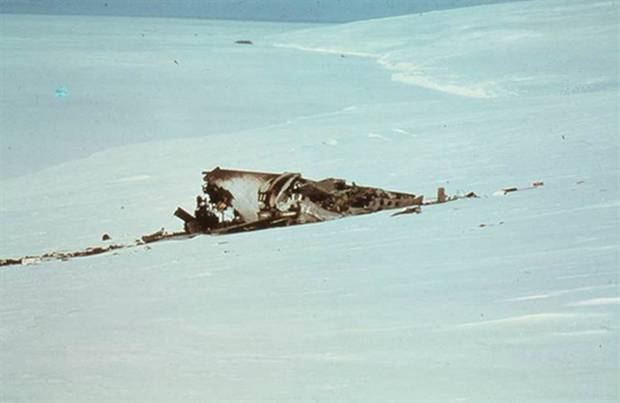 Wreckage of the Air New Zealand crash on Mt Erebus. Photo /supplied