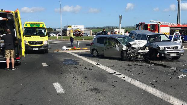An Australian tourist faces several charges of careless driving causing injury after this crash near Hobbiton at the weekend. Photo / Waikato Westpac Rescue Helicopter