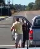 A violent road rage attack on a woman at Doyalson on the NSW Central Coast. Posted by Dwayne Pillidge on the Dash Cam Owners Australia Facebook page.