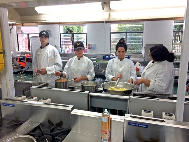 Trades training participants (from left) Joshua O'Connor, Tanisha Wikaira-Davies, Shianne Kire and Nakeisha Ututaonga-Britton in the full-size professional catering kitchen that can feed 200 people.