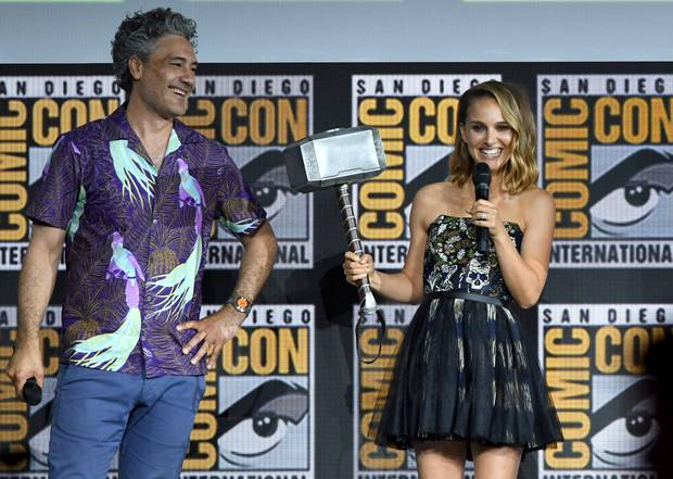 Taika Waititi and Natalie Portman speak at the Marvel Studios Panel during 2019 Comic-Con International in San Diego. Photo / Getty Images