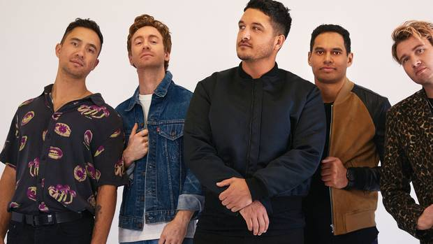 Kiwi band Six60 (from left), Marlon Gerbes, Ji Fraser, Matiu Walters, EliPaewai, and Chris Mac.