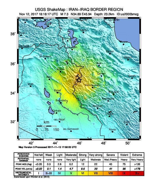 ShakeMap from USGS shows the earthquake that struck yesterday on the Iran-Iraq border.