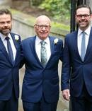 Rupert Murdoch with his sons Lachlan Murdoch (L) and James Murdoch (R). Photo / Getty