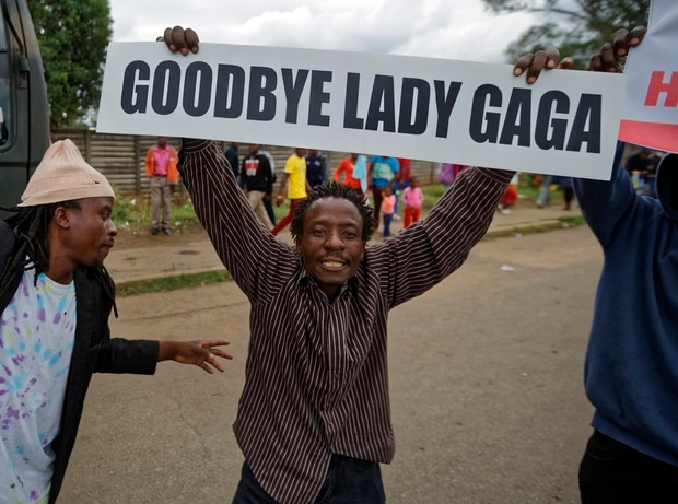 A protester demanding that President Robert Mugabe stands down carries a placard referring to Mugabe's wife Grace Mugabe. Photo / AP