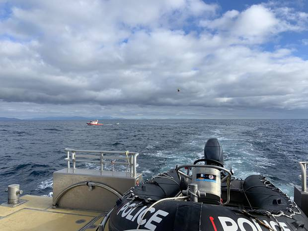 A young man has had a lucky escape after becoming stuck off the Mana Coast following an overnight trip across the Cook Strait in a dinghy. Photo / NZ Police
