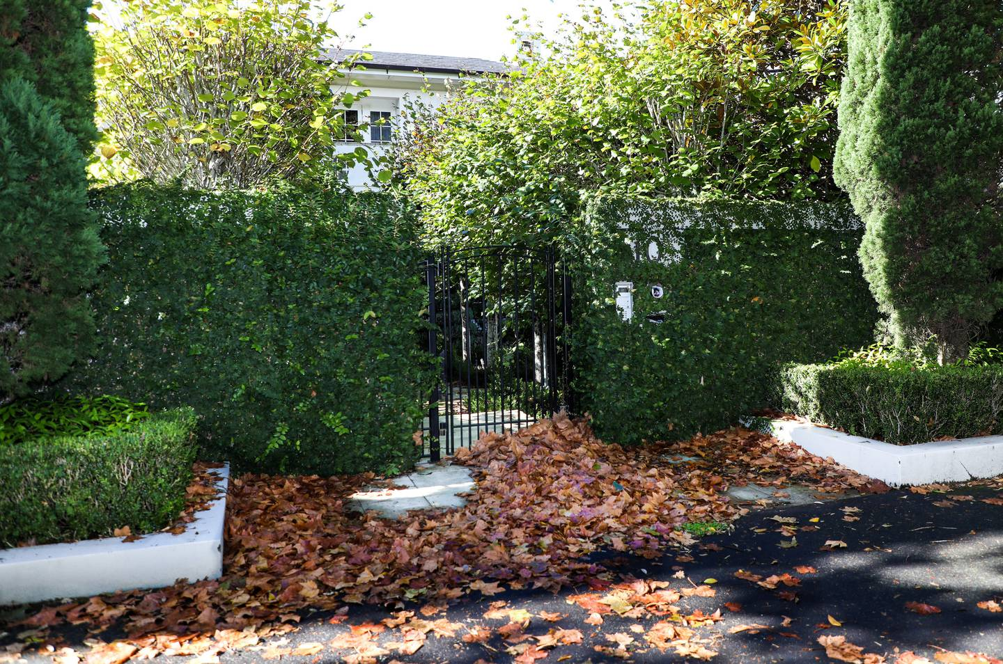 Sir John Key's former home has become a collection point for Autumn leaves in an otherwise well kept street. Photo / Hayden Woodward