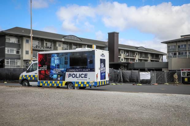 Outside the Sudima Hotel in Rotorua today. Photo / Andrew Warner