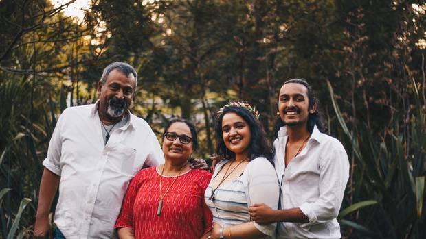 Benjamin John, wife Bindu Benjamin and siblings Kaavya and Dev Benjamin are affected customers of failed travel company Guru Travel. Photo / Supplied