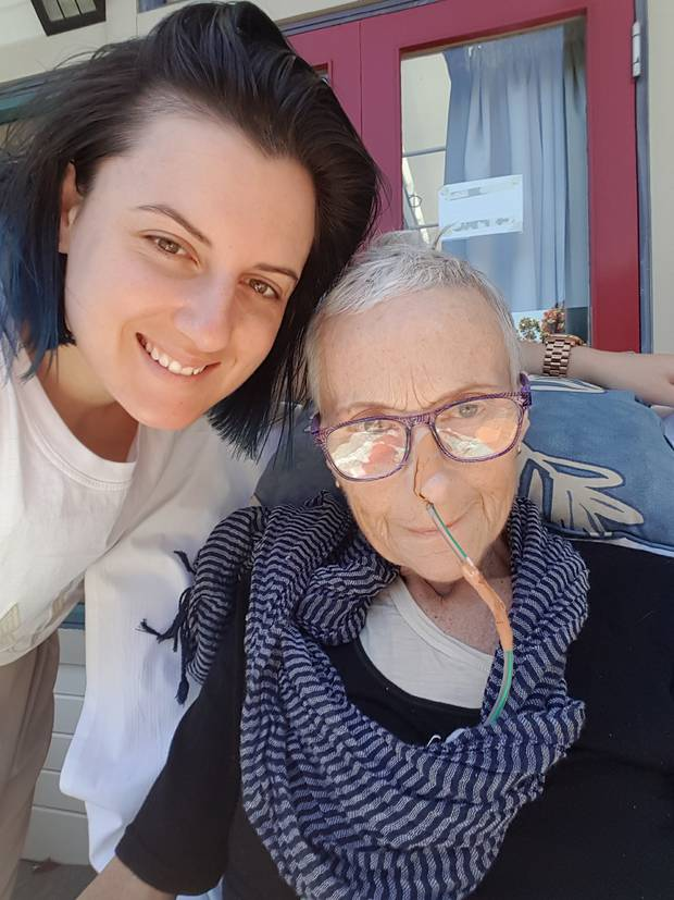 Bernie Portenski (right) with her daughter Marie-Jo at Mary Potter Hospice in January, 2017.