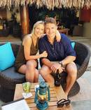 Beauden Barrett is engaged to long-time partner Hannah Laity. Photo / Twitter.
