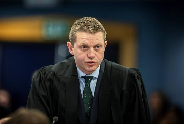 The accused's lead defence lawyer Ian Brookie delivers his opening address to the jury. Photo / Michael Craig