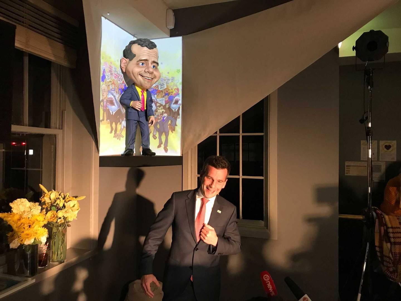 David Seymour's puppet unveiled. Photo / Michael Neilson