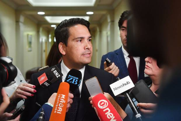Leader of the opposition Simon Bridges speaks to media at Parliament. Photo / Getty Images