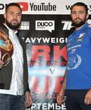 WBO world heavyweight title challenger Hughie Fury (right) and WBO champion Joseph Parker during a pre-fight press conference. Photo / Getty