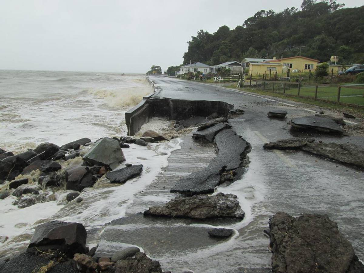 Nz Herald: Thames-Coast Rd Destroyed By Waves In Monster Storm Over