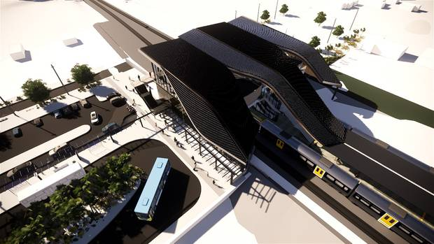The sleek exterior of the planned new Puhinui Rail Station interchange, as seen from above in this artist's impression. Image / Supplied