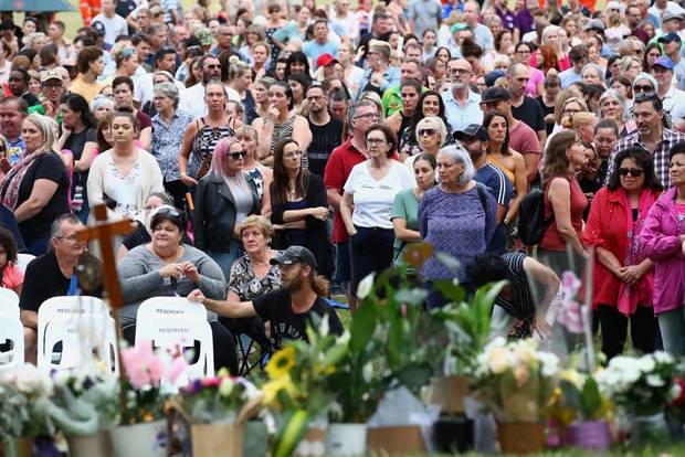 Mourners attend a vigil to remember murdered mother, Hannah Clarke and her three children at Bill Hewitt Reserve in Camp Hill in Brisbane. Photo / Getty Images