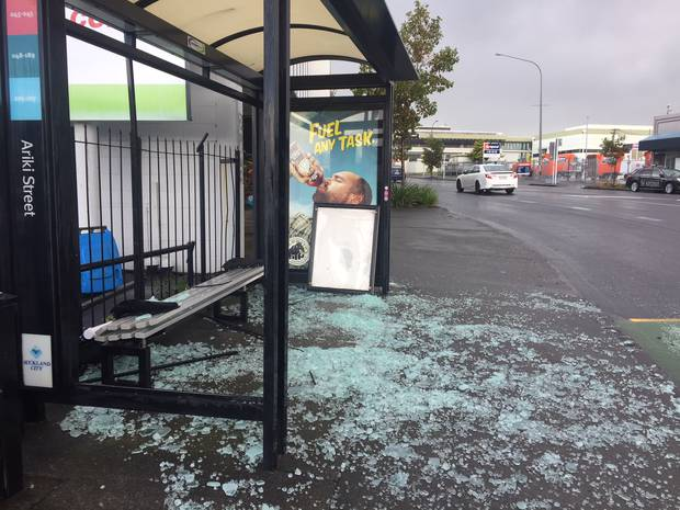 Bus shelter damaged on Great North Rd, Grey Lynn, Auckland, during the storm.
