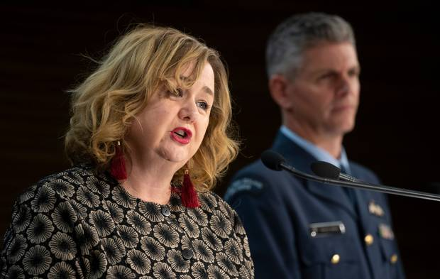 Cabinet Minister Megan Woods and Air Commodore Darryn Webb detailed the charges for some returnees yesterday. Photo / Mark Mitchell