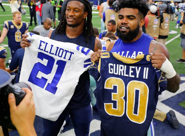 Todd Gurley and Ezekiel Elliott, two of the NFL's premier running backs, square off this weekend. Photo / Getty Images