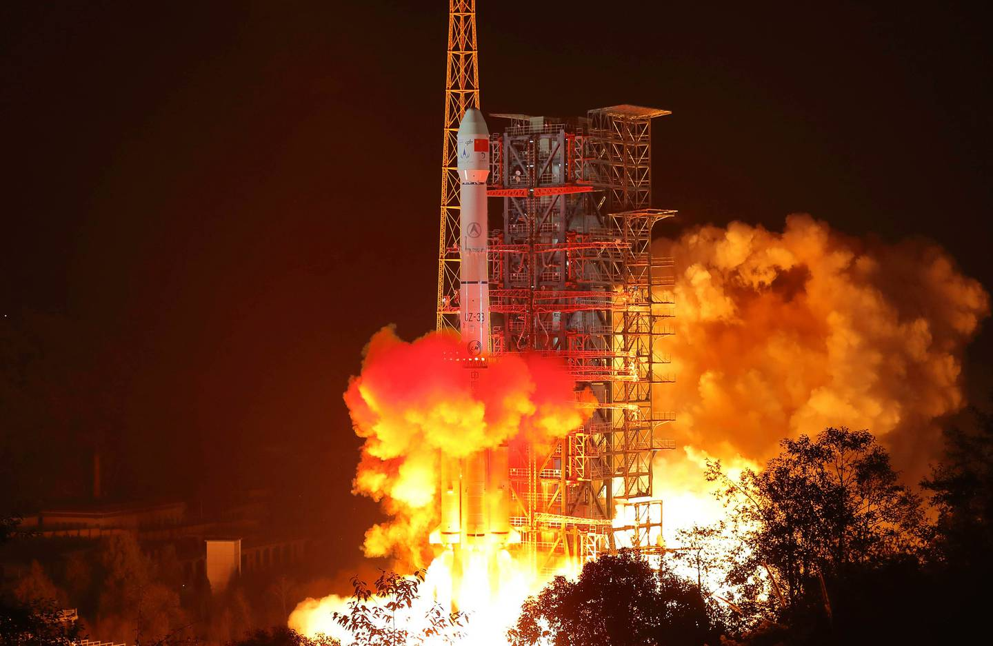 The Chang'e 4 lunar probe launches from the the Xichang Satellite Launch Center in 2018. Photo / AP