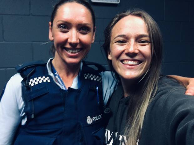 Jazz Thornton (right) with the police officer, constable Meikia Campbell, who saved her life when she was 19. Photo / Supplied