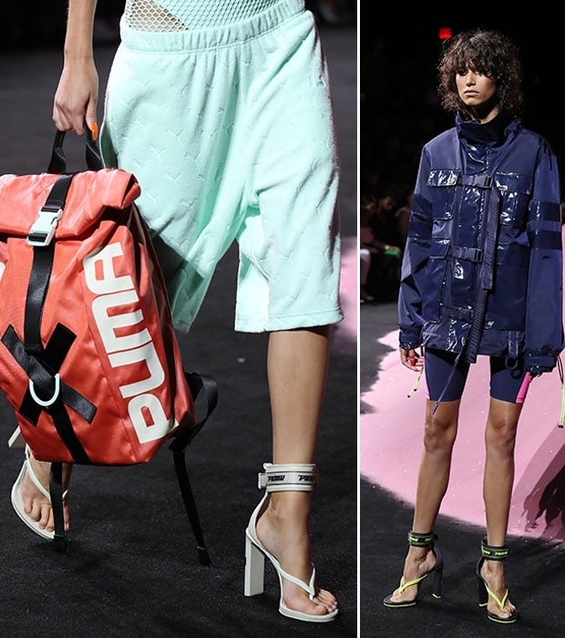 Some of Rihanna's Fenty designs on the runway, including the high-heeled jandals. Photos / Getty Images