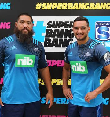 817d8918d23f Photo Blues Charlie Faumuina and Bryn Hall during the 2016 New Zealand  Super Rugby Launch. Photo