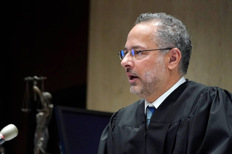 Superior Court Judge Mark S. Ali speaks during the sentencing for Khalil Wheeler-Weaver in Newark, New Jersey. Photo / Seth Wenig, Pool via AP
