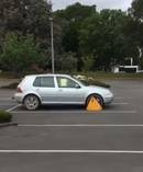 This clamped car in an empty student carpark enraged Canterbury University sociologist Dr Jarrod Gilbert. Photo / Twitter