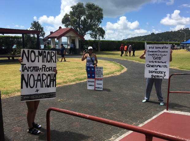 A small cluster of after-the-fact protesters at Ti Tii Marae. Photo / David Fisher