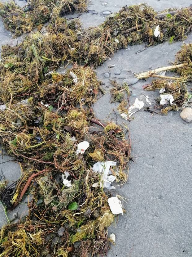Tonnes of rubbish from an old Fox Glacier landfill is washing up on beaches along the Westland coast after it breached following the recent storm. Photo / Supplied