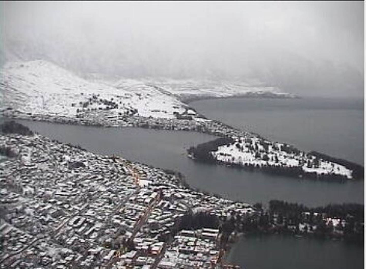 Queenstown this morning, frosted in white. Photo / Skyline
