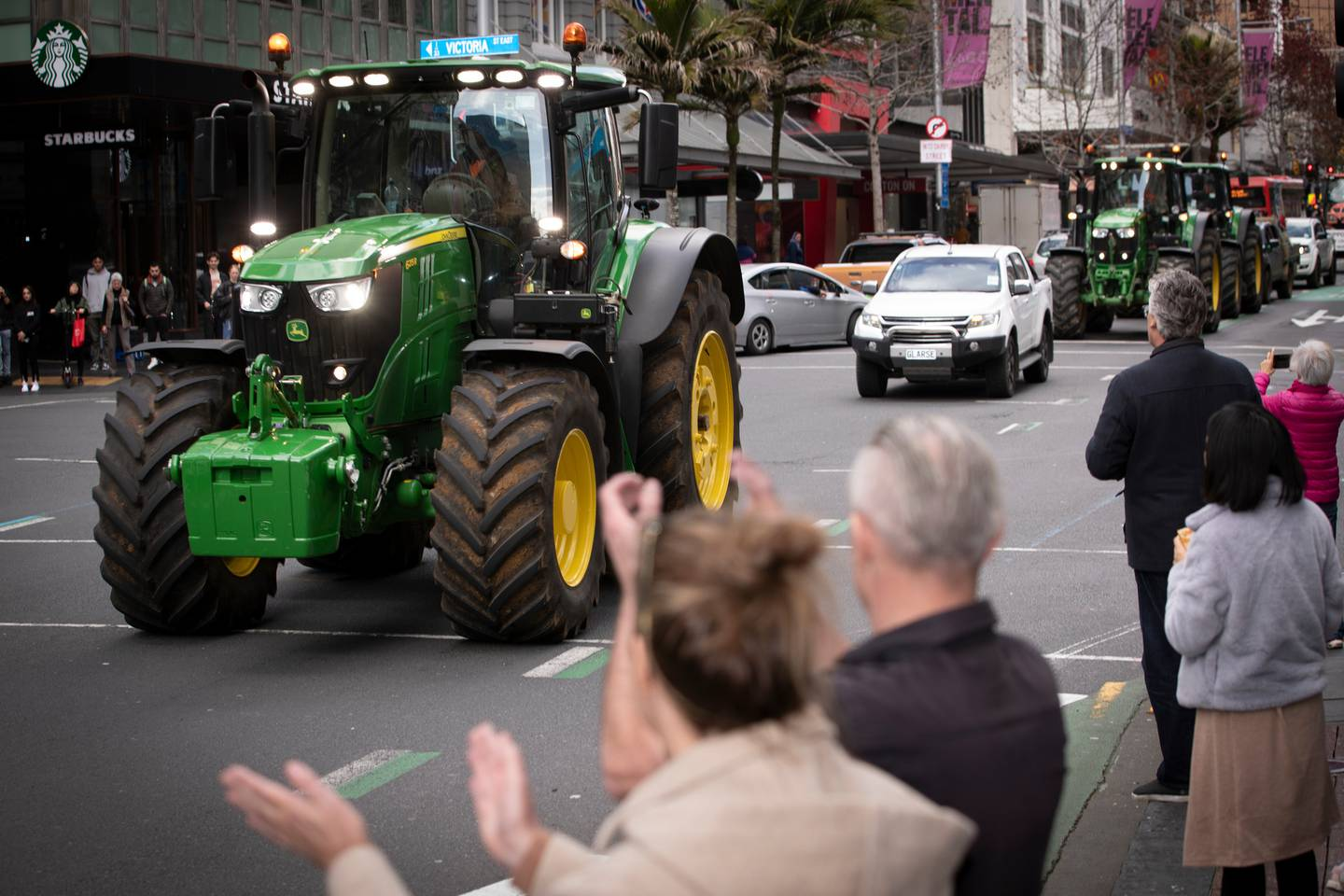 Tractors take part in the Groundswell protest on Queen St. Photo / Michael Craig