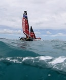 Emirates Team New Zealand races against Oracle Team USA. Photo / Getty