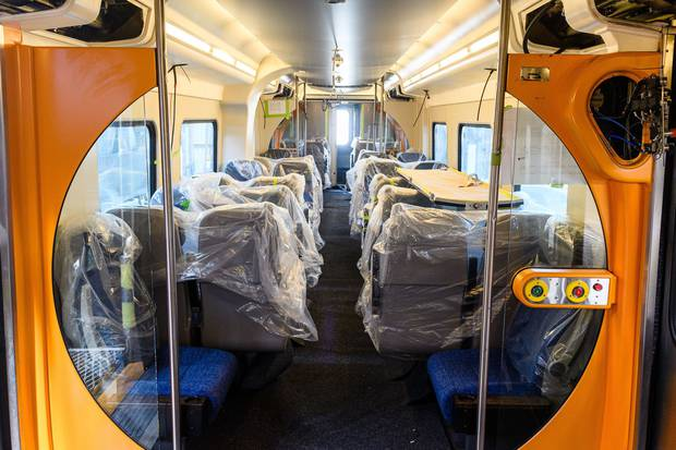 An interior view of one of the new carriages to be used on the Hamilton to Auckland commuter rail service. Photo / Waikato Regional Council